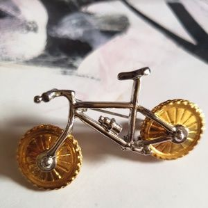 Vintage Silver Bicycle Pin Brooch with Gold Wheels